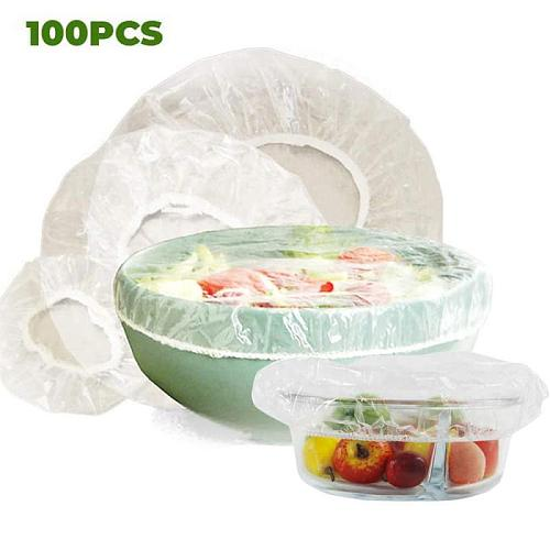 Disposable Food Cover 100 pcs plastic wrap Elastic Food Lids For Fruit Bowls Cups Food Covers Caps Keeping Cookware Accessories