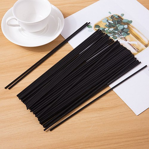 300PCS 20cmx3mm Black Fiber Rattan Sticks DIY Handmade Home Decoration Rattan Reed Essential Oil  Diffuser Refill Sticks
