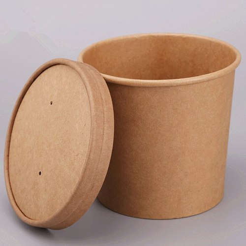 50pcs High quality kraft paper disposable takeaway packaging box 8oz/12oz round salad soup food container paper cup with lid