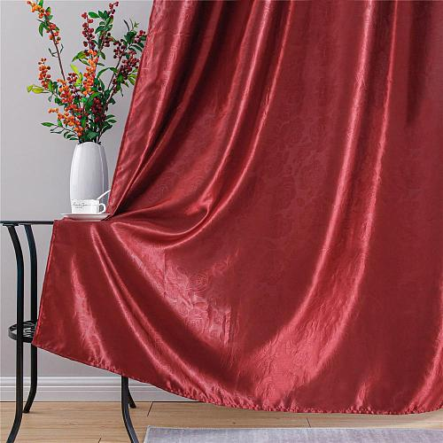 YokiSTG Solid Color Red Blackout Curtains for Living Room Bedroom Kitchen Window Treatment Blinds Finished Drapes Home Decor