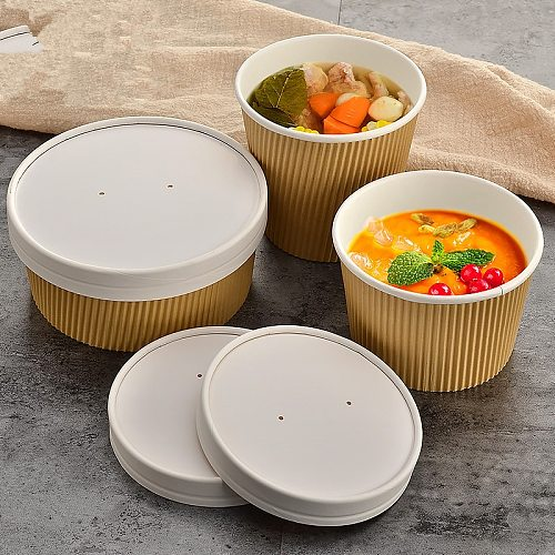 50pcs Creative double layer kraft paper disposable ice cream cups round large food packaging container soup bowl with lid