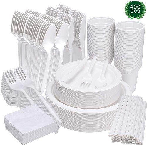 400 Pcs Disposable Tableware Set Biodegradable Plates Compostable Dinnerware Kit Napkins Knives Forks Spoons  Cups Straws