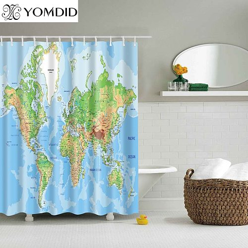 Different World Map Pattern Shower Curtains Printed Bathroom Curtains Shower Wall Hanging Map Curtain World Map Shower Curtains