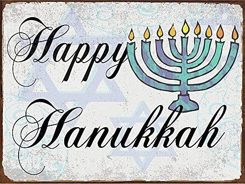 Happy Hanukkah Metal Sign, Holiday Décor, Star, Menorah, Seasonal
