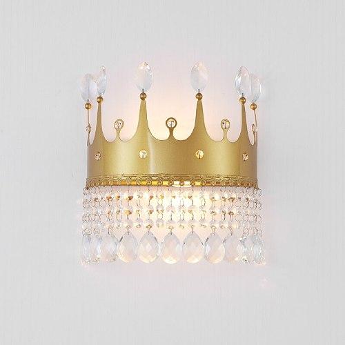 Golden crown Modern led Wall Lamps Metal AC110-220V Modern Wall Church lamp K9  crystal led wall light E14 lampstand