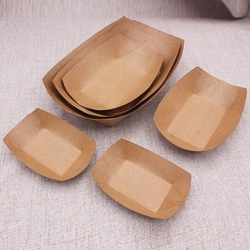 20/30pcs kraft paper box Packing Box Disposable kraft paper lunch box Snack Food Container Tray Cookie Candy Cake Boxes