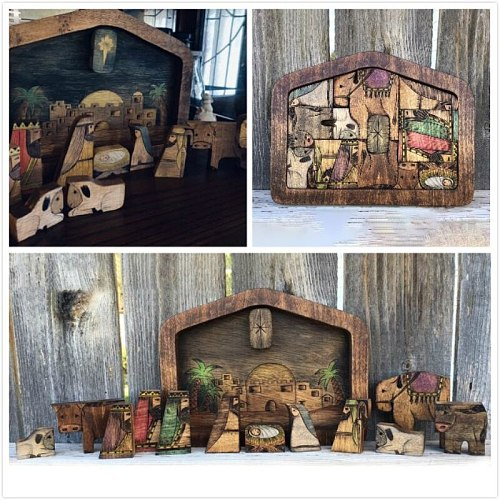 Nativity Puzzle With Wood Burned Design Wooden Jesus Puzzles Jigsaw Puzzle Game For Adults And Kids Home Decor Christian Plaques