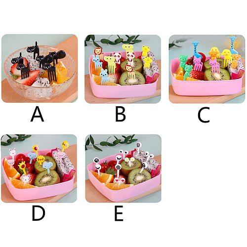 5 style random color creative plastic food fruit bento decoration sign fruit fork mini cartoon