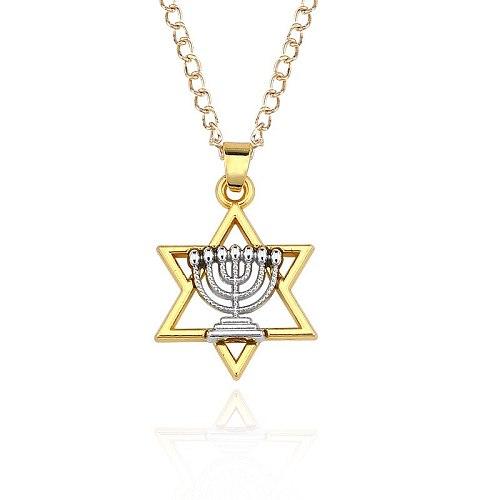 Star Of David Menorah Jewish Jewelry Religious Necklace Women Jewelries Men Judaica Hebrew Israel Faith Lamp Hanukkah Pendant