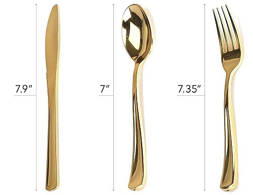 75pcs Rose Gold Plastic Silverware- Disposable Flatware Set-Heavyweight Plastic Cutlery- Includes 25 Forks, 25 Spoons, 25 Knives
