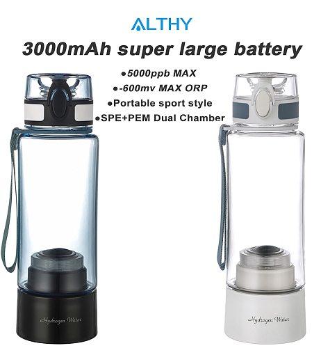 ALTHY Hydrogen Rich Water Generator Bottle - 3000mah large battery - DuPont SPE+PEM Dual Chamber H2 Maker lonizer Electrolysis