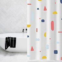 Floral Pattern Bath Curtain Waterproof Shower Curtains Geometric Bath Screen Printed Curtain For Bathroom Gift