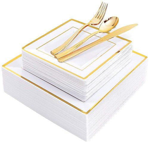 125pcs Gold Plastic Plates with Disposable Plastic Silverware- Gold Rim Square Plastic Dinnerware Set