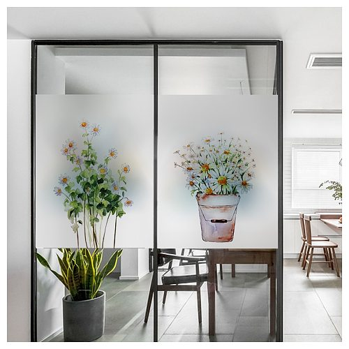 Customized Size Electrostatic Window Sticker Lotus Pattern Decorative Private Reusable Glass Film For Home Office Store Market