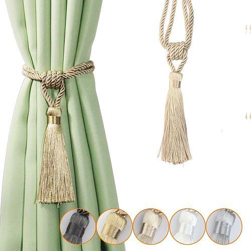 1Pc Handmade Tassel Curtain Tieback Room Accessories Gold Curtain Buckle Rope Home Decoration Holdback Window Fringe