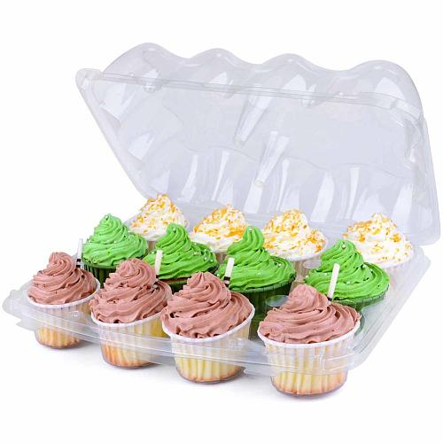8 Sets Plastic Cupcake Containers 12-Compartment Disposable Trays For Cupcakes Deep Cups For Cupcake Storage