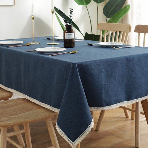 INS Nordic Solid Color Waterproof Tablecloth With Lace Cotton Linen Thick Rectangular Wedding Dining Table Cover Tea Table Cloth