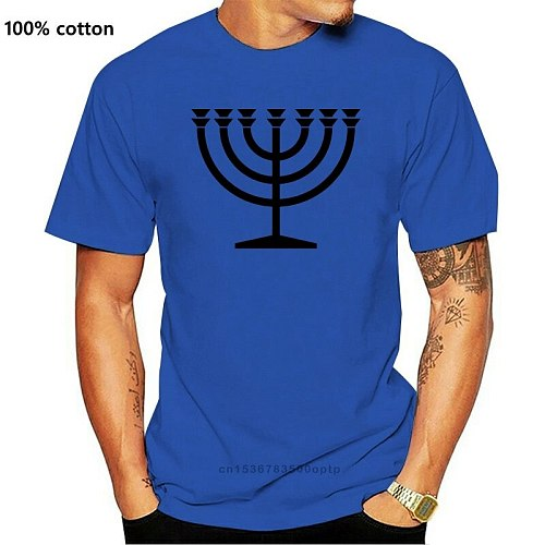 MENORAH SYMBOL MENS T SHIRT HANUKKAH HEBREW YIDDISH JEWISH JUDDAISM RELIGION(1)