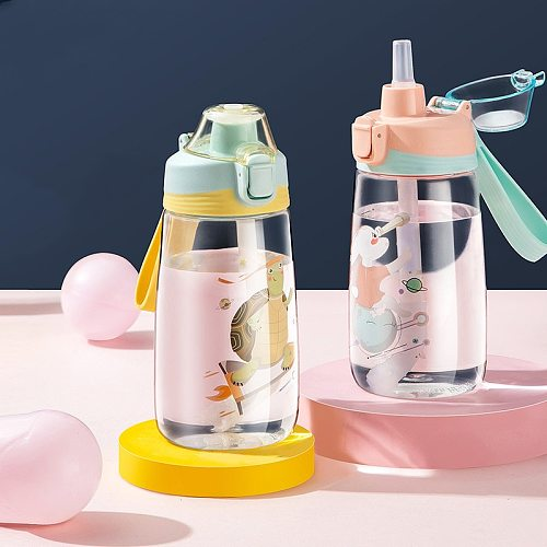 500ML Carton Water Bottles With Straw Tritan Plastic Bottle Cute Portable Kettle BPA Free Kids Juice Milk Cup Leak Proof Cups