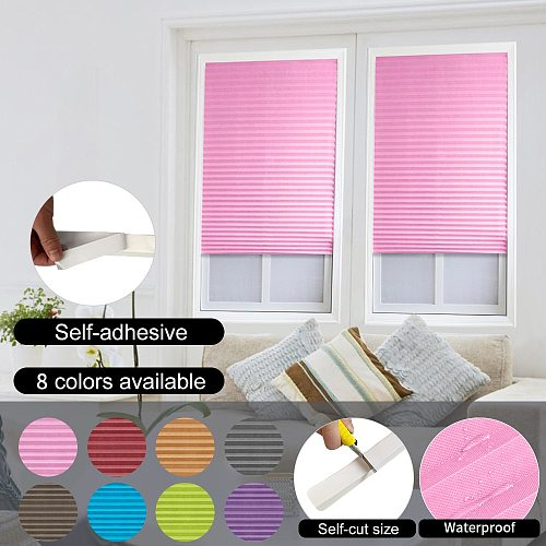 Self-Adhesive Pleated Blinds Curtains Half Blackout Windows For Bathroom Balcony Shades For Living Room Home Window Doors