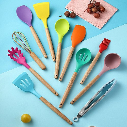 12pcs Cooking Utensil Set Silicone Kitchen Utensils Spaghetti Slotted Spoon With Bucket Egg Beater Leakage Shovel Cookware Set