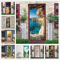 Vinyl Wallpaper On The Door 3D Self Adhesive Landscape Sticker Porte Home Design Door Decor Mural Fridge Decal poster de portes