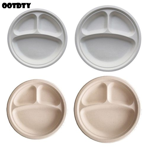 9 /10  Biodegradable Disposable Plates Bagasse Paper Plate 3 Compartment for Food Cake Hamburger Fruits Holding Party Supplies