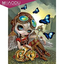 5d Diamond Painting Cartoon Lovely Girl And Butterfly Dragon Portrait Cross Stitch Resin Diy  Mosaic Home Wall Decor Gift