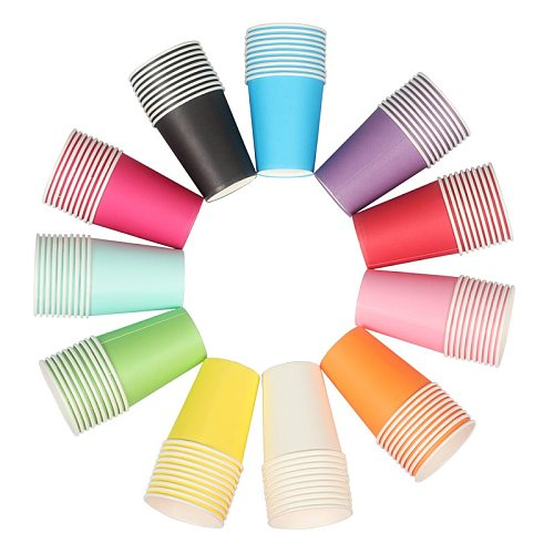 11 colors Colored Tableware Disposable Paper Cups Tea Mug Large DIY Cup Household Goods Kitchen Coffee Mug Kitchen Tools.85z
