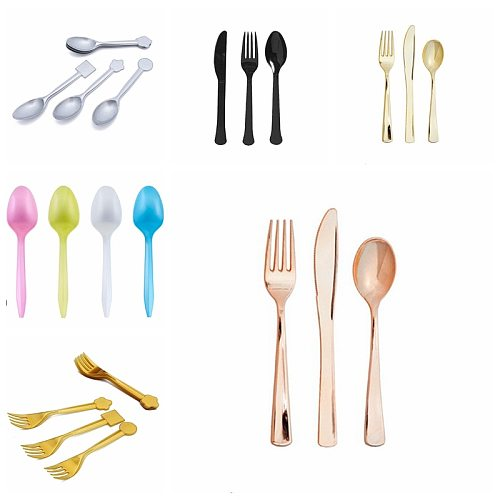 Party Cutlery 16pcs Disposable Tableware Suit Mix Gold Silver Black Rose Gold Color Knife Fork Spoon Kids Toy Supplies