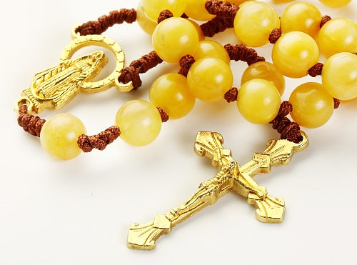 Rosary Beads Catholic Necklace Church Memorial Souvenir Gifts With Holy Pouch