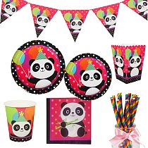 Panda Birthday Party Disposable Tableware Paper Plate Napkin Cup Straw Baby Shower Kids Happy Birthday Party Decoration Supplies