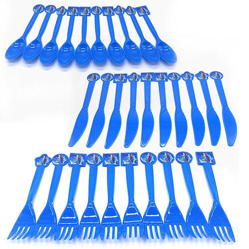 Disney Frozen Elsa & Anna Princess Plastic Tableware Kids Birthday Party Supplies Knife Forks Spoons Festival Decoration 10PCS