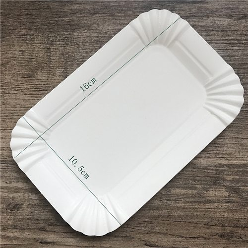 Rectangular cake tray White paper plate disposable dinner plate Paper plate cake disposable paper plate rectangle Kitchenware