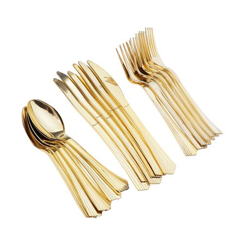 18 Pack Plastic Cutlery Kits, Disposable Silverware Heavyweight Clear Combo,