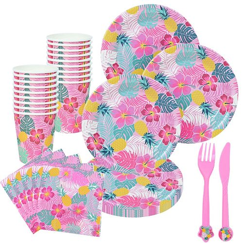 Creative Pink Disposable Tableware Tropical Printed Paper Plates Napkins Cups Forks For Hawaii Party Birthday Holiday Decor
