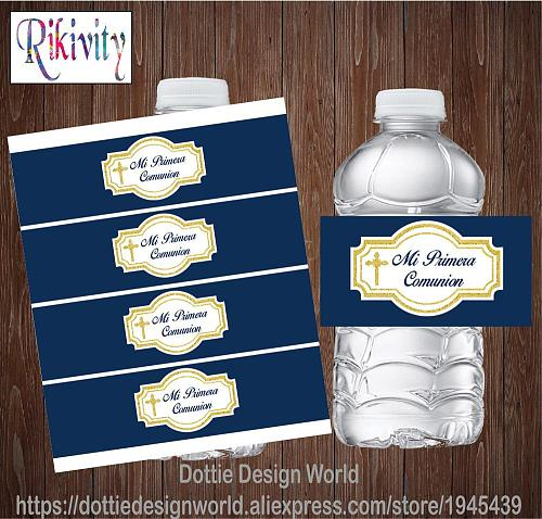 20pcs Navy Blue My First Holy Communion Water Bottle Wine Labels Baptism Candy Bar Wrapper Stickers Baby Shower Party Decoration