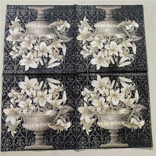 20 vintage napkins paper tissue decoupage black white flower towel birthday wedding party home hotel decor Guardanapo serviettes