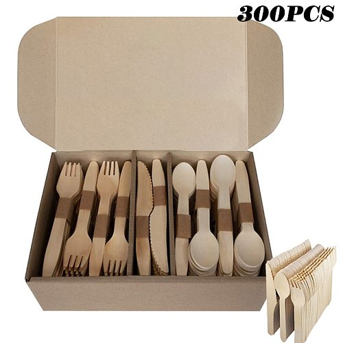 300Pcs Disposable Wooden Cutlery Set Home Party Dessert Spoons Knives Forks Dining Tableware