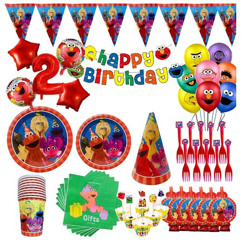 Sesame Street Party Supplies Tableware Elmo Paper Straws Cups Plate Napkins Sesame Street Baby Shower Birthday Party Decorations