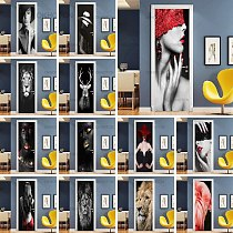 Lion Tiger Animals Door Stickers Black And White Door Posters Decal Modern Home Decor Wallpaper 3D PVC Waterproof Wall Stickers