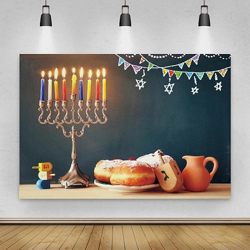 Happy Hanukkah Backdrop Photocall Menorah Candelabra Candle Wood Dreidel Wine Jewish Holiday Family Glitter Background
