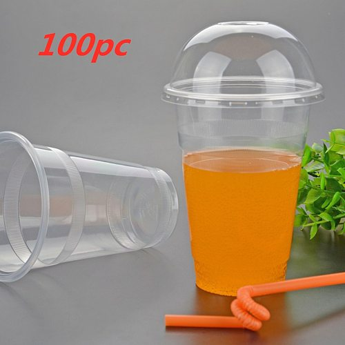 450ml 100PC Disposable Plastic Cups With Hole Dome Lid Coffee Cups Clear Tea Juice Packaging Cups Cold Drinking Beverage Cup B14