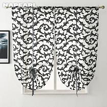 Short Kitchen Curtain Modern Window Treatment Tie up Balloon Home Textile Sheer Panel Tulle White Black Jacquard