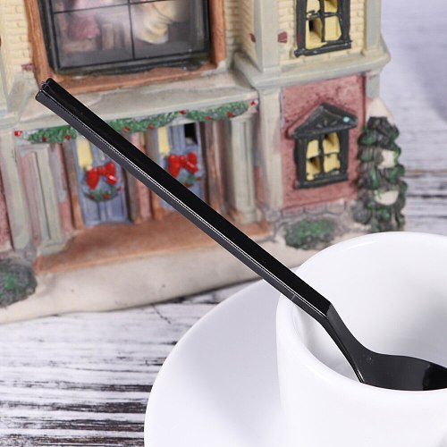 100Pcs Thick Spoons Disposable Individually Wrapped Thick Yogurt Cakes Spoons Baking Supplies Tableware (Black