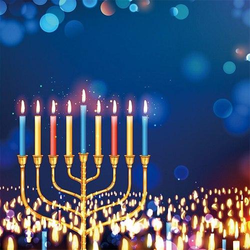 Laeacco Color Menorah Shamash Candles Rosh Festivals Blue Polka Dots Light Bokeh Party Pattern Photo Background Photo Backdrops