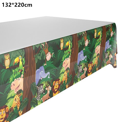 132*220cm Lovely Jungle animals party tablecloth owl lion Elephant Table Cover for kids Birthday Party Supplies&decorations