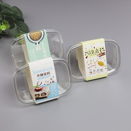 50pcs Transparent packaging food container 250ml square plastic box pudding ice cream fruit salad dessert cake cup with lid