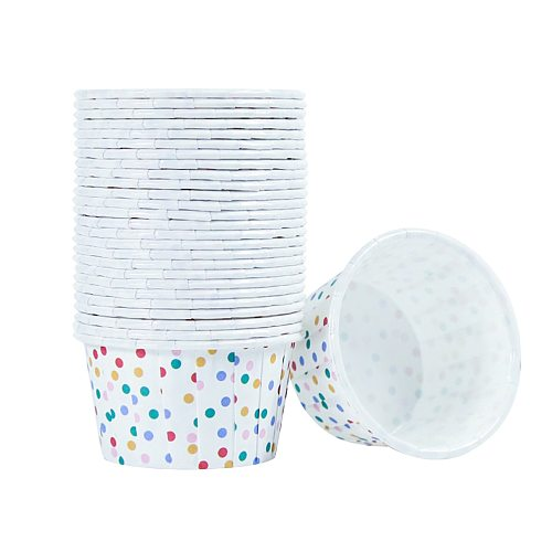 100pcs Paper Ice Cream Cups Disposable Cake Cup Dessert Bowls Party Supplies for Baking Wedding Birthday (Colorful Dots)