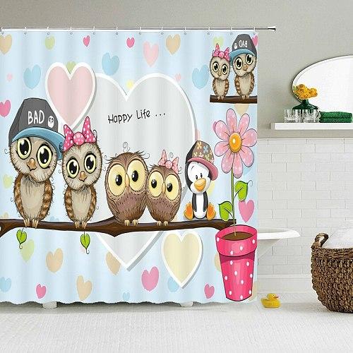 lovely owl Cartoon Shower Curtains Bathroom Waterproof Shower Curtain Polyester Cute Child 3D Printing Home Bath screen Fabric